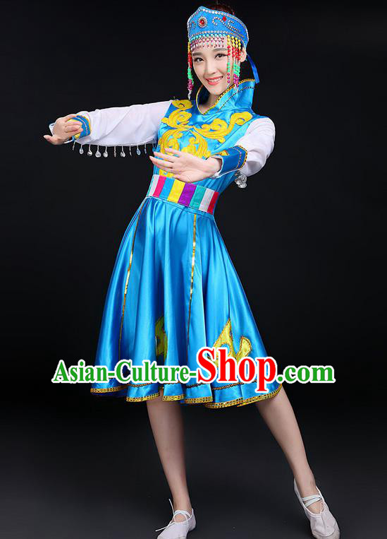 Traditional Chinese Mongol Nationality Dancing Costume, Mongols Female Folk Dance Ethnic Blue Skirt, Chinese Mongolian Minority Nationality Embroidery Costume for Women