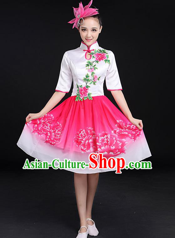 Traditional Chinese Modern Dancing Compere Costume, Women Opening Classic Chorus Singing Group Dance Bubble Peony Uniforms, Modern Dance Classic Dance Big Swing Cheongsam Pink Dress for Women