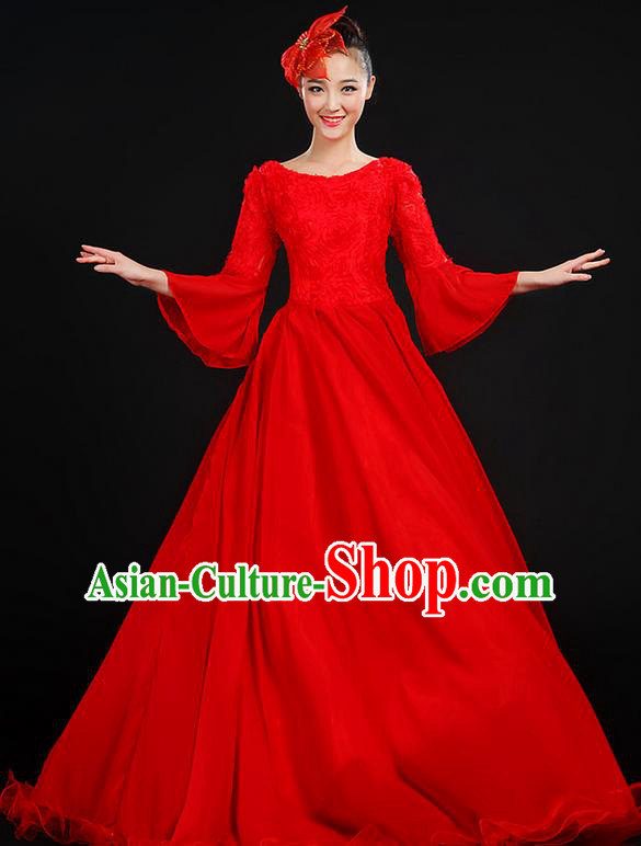 Traditional Chinese Modern Dancing Compere Costume, Women Opening Classic Chorus Singing Group Dance Dress Uniforms, Modern Dance Classic Dance Big Swing Red Dress for Women