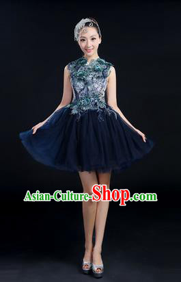 Traditional Chinese Modern Dancing Compere Costume, Women Opening Classic Chorus Singing Group Dance Paillette Uniforms, Modern Dance Bubble Short Deep Blue Dress for Women
