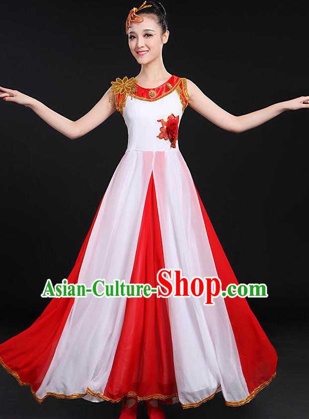 Traditional Chinese Style Modern Dancing Compere Costume, Women Opening Classic Chorus Singing Group Dance Bubble Uniforms, Modern Dance Classic Dance Big Swing Dress for Women