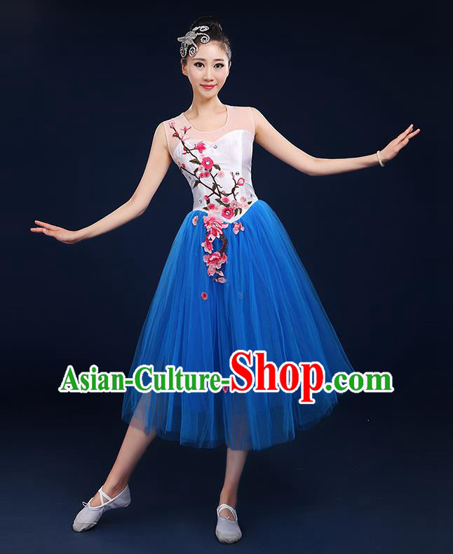 Traditional Chinese Modern Dancing Compere Costume, Women Opening Classic Chorus Singing Group Dance Embroider Plum Blossom Bubble Uniforms, Modern Dance Classic Dance Big Swing Blue Short Dress for Women