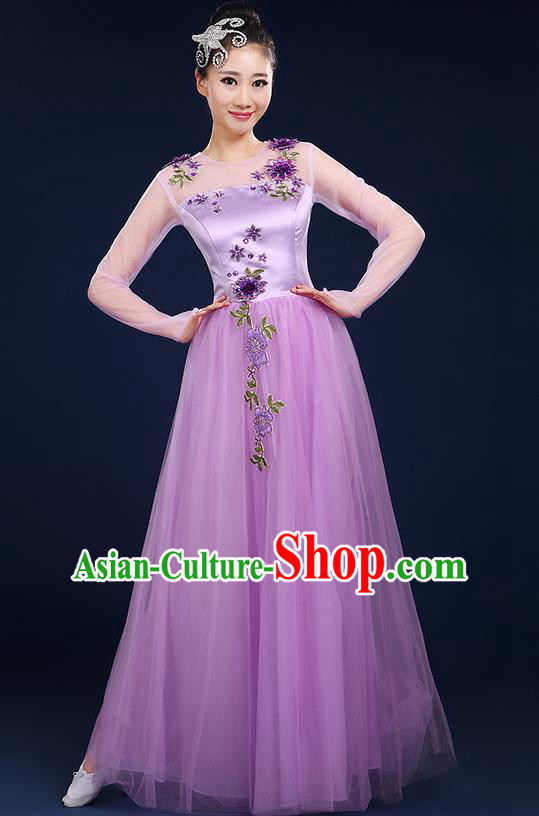 Traditional Chinese Modern Dancing Compere Costume, Women Opening Classic Chorus Singing Group Dance Bubble Uniforms, Modern Dance Classic Dance Big Swing Purple Dress for Women