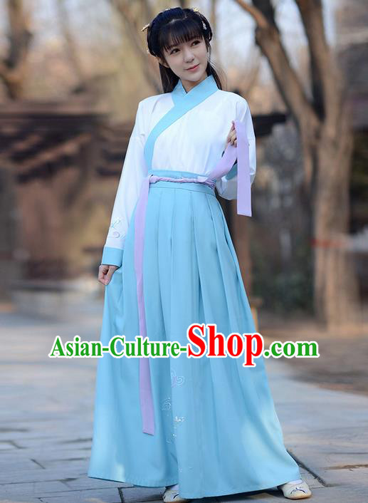 Traditional Ancient Chinese Young Lady Elegant Costume Embroidered Slant Opening Blouse and Blue Slip Skirt Complete Set , Elegant Hanfu Clothing Chinese Jin Dynasty Imperial Princess Clothing for Women