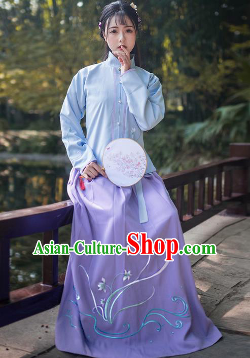 Traditional Ancient Chinese Young Lady Elegant Costume Embroidered Orchid Front Opening Blouse and Slip Skirt Complete Set, Elegant Hanfu Clothing Chinese Jin Dynasty Imperial Princess Clothing for Women