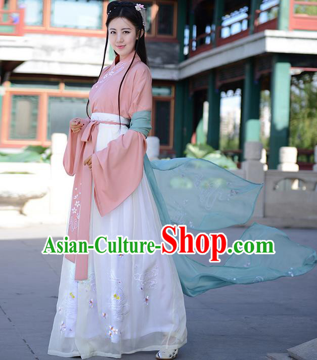 Traditional Ancient Chinese Young Lady Elegant Costume Embroidered Slant Opening Blouse and Slip Skirt Complete Set, Elegant Hanfu Clothing Chinese Tang Dynasty Imperial Princess Clothing for Women