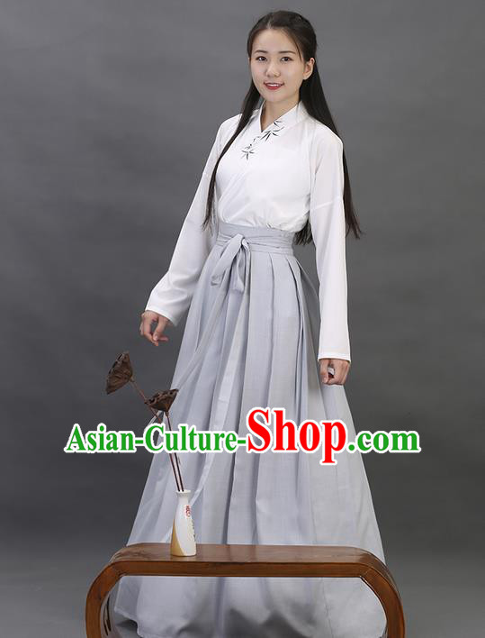 Traditional Ancient Chinese Young Lady Elegant Costume Embroidered Bamboo Slant Opening Blouse and Slip Skirt Complete Set, Elegant Hanfu Clothing Chinese Han Dynasty Imperial Princess Clothing for Women