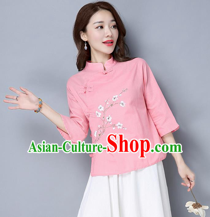 Traditional Chinese National Costume, Elegant Hanfu Pink Slant Opening Stand Collar Blouse, China Tang Suit Retro Plated Buttons Chirpaur Blouse Cheong-sam Upper Outer Garment Qipao Shirts Clothing for Women