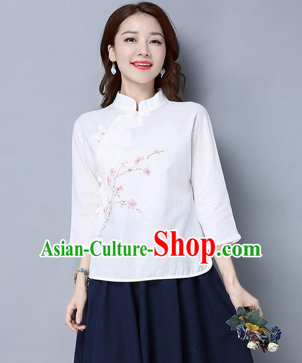 Traditional Chinese National Costume, Elegant Hanfu White Slant Opening Stand Collar Blouse, China Tang Suit Retro Plated Buttons Chirpaur Blouse Cheong-sam Upper Outer Garment Qipao Shirts Clothing for Women