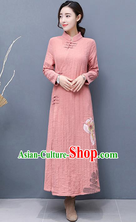 Traditional Ancient Chinese National Costume, Elegant Hanfu Mandarin Qipao Linen Hand Painting Pink Dress, China Tang Suit Chirpaur Republic of China Cheongsam Upper Outer Garment Elegant Dress Clothing for Women