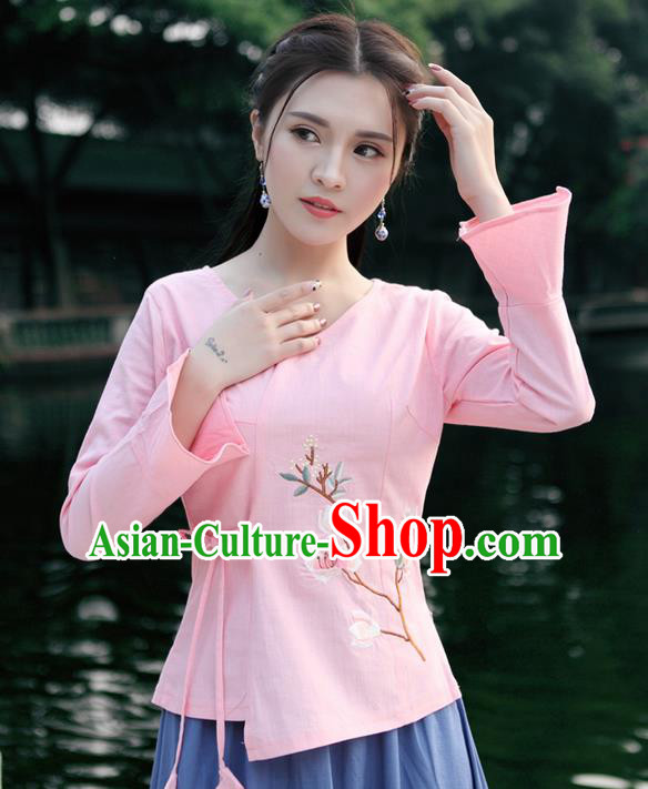 Traditional Chinese National Costume, Elegant Hanfu Embroidery Flowers Slant Opening Pink Mandarin Sleeve Shirt, China Tang Suit Plated Buttons Chirpaur Blouse Cheong-sam Upper Outer Garment Qipao Shirts Clothing for Women