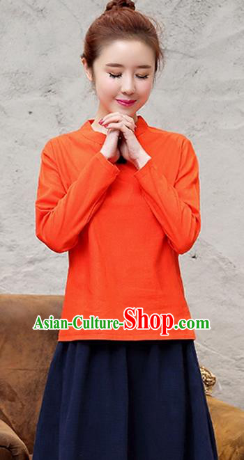 Traditional Chinese National Costume, Elegant Hanfu Stand Collar Orange T-Shirt, China Tang Suit Republic of China Plated Buttons Chirpaur Blouse Cheong-sam Upper Outer Garment Qipao Shirts Clothing for Women