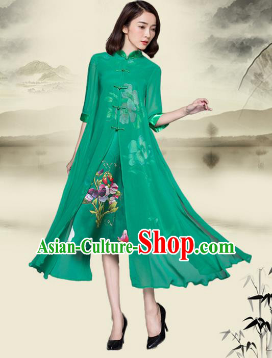 Traditional Ancient Chinese National Costume, Elegant Hanfu Mandarin Qipao Plated Buttons Printing Cheongsam Green Dress, China Tang Suit Upper Outer Garment Elegant Dress Clothing for Women