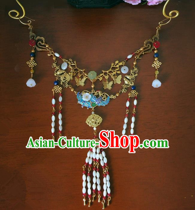 Traditional Handmade Chinese Ancient Classical Accessories Necklace, China Wedding Bride Wreaths Jewellery Necklet for Women