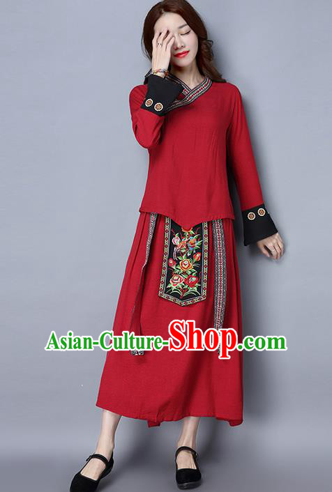 Traditional Ancient Chinese Costume, Elegant Hanfu Clothing Folk Dance Embroidered Red Slant Opening Blouse and Dress, China Tang Dynasty Princess Elegant Blouse and Skirt Complete Set for Women