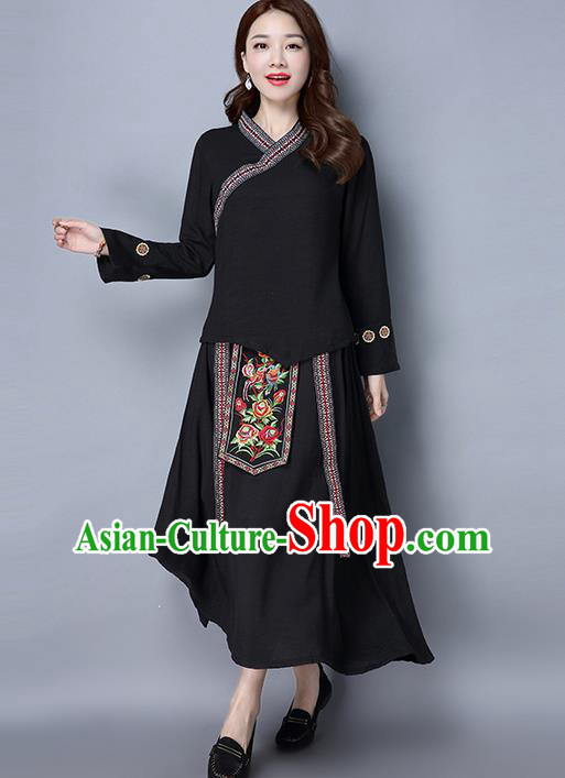Traditional Ancient Chinese Costume, Elegant Hanfu Clothing Folk Dance Embroidered Black Slant Opening Blouse and Dress, China Tang Dynasty Princess Elegant Blouse and Skirt Complete Set for Women
