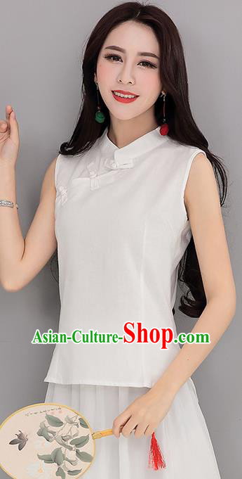 Traditional Chinese National Costume, Elegant Hanfu Linen Slant Opening White T-Shirt Vest, China Tang Suit Plated Buttons Sleeveless Shirt Blouse Cheong-sam Upper Outer Garment Qipao Shirts Clothing for Women