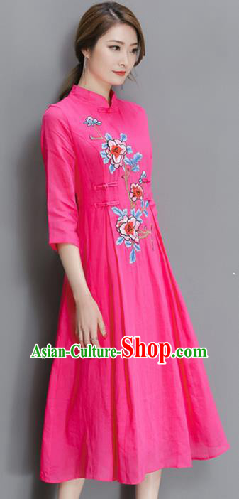 Traditional Chinese National Costume, Elegant Hanfu Mandarin Qipao Printing Peony Pink Plated Buttons Dress, China Tang Suit Stand Collar Cheongsam Upper Outer Garment Elegant Dress Clothing for Women