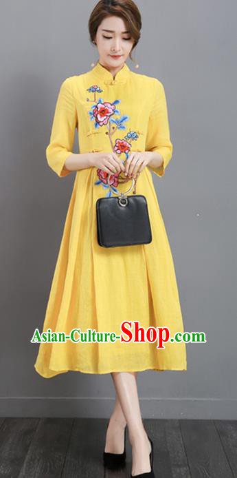 Traditional Chinese National Costume, Elegant Hanfu Mandarin Qipao Printing Peony Yellow Plated Buttons Dress, China Tang Suit Stand Collar Cheongsam Upper Outer Garment Elegant Dress Clothing for Women