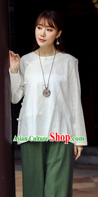 Traditional Chinese National Costume, Elegant Hanfu Linen Slant Opening White T-Shirt, China Tang Suit Plated Buttons Chirpaur Blouse Round Collar Cheong-sam Upper Outer Garment Qipao Shirts Clothing for Women