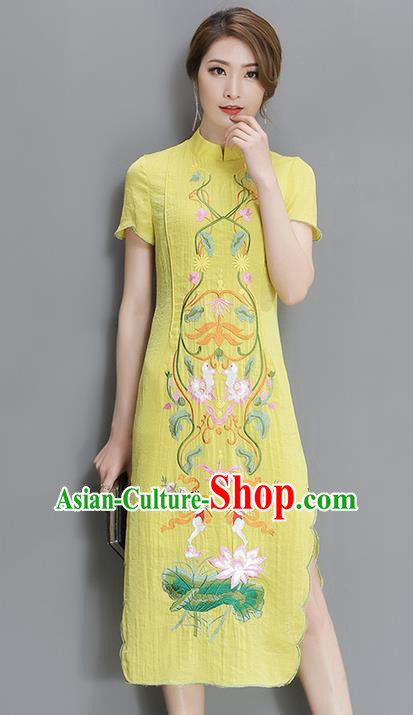 Traditional Ancient Chinese National Costume, Elegant Hanfu Mandarin Qipao Embroidered Lotus Yellow Dress, China Tang Suit Cheongsam Upper Outer Garment Elegant Dress Clothing for Women