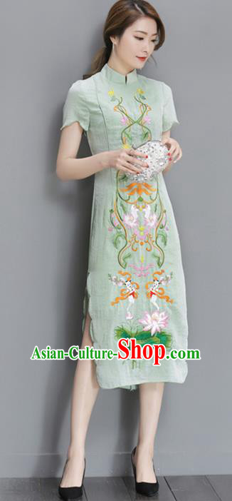Traditional Ancient Chinese National Costume, Elegant Hanfu Mandarin Qipao Embroidered Lotus Green Dress, China Tang Suit Cheongsam Upper Outer Garment Elegant Dress Clothing for Women