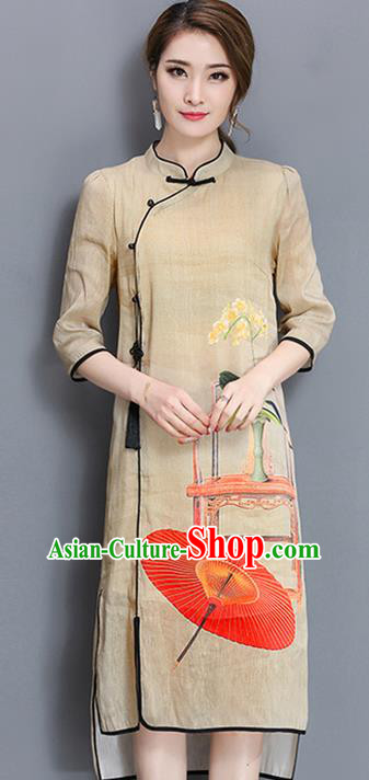 Traditional Ancient Chinese National Costume, Elegant Hanfu Mandarin Qipao Printing Stand Collar Khaki Dress, China Tang Suit Cheongsam Upper Outer Garment Elegant Dress Clothing for Women