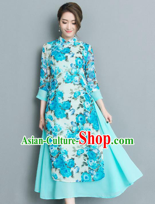 Traditional Ancient Chinese National Costume, Elegant Hanfu Mandarin Qipao Printing Stand Collar Big Swing Blue Dress, China Tang Suit Cheongsam Upper Outer Garment Elegant Dress Clothing for Women