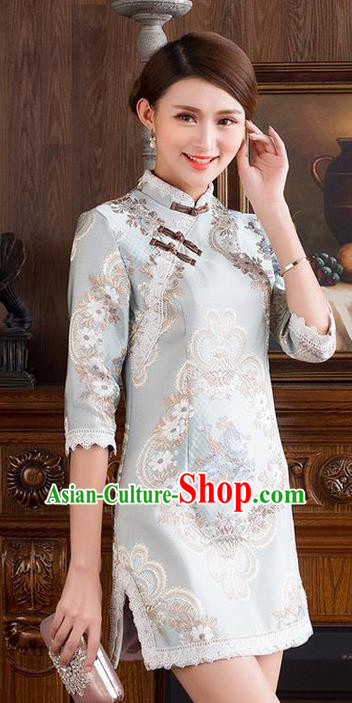 Traditional Ancient Chinese National Costume, Elegant Hanfu Mandarin Qipao Embroidery Stand Collar Dress, China Tang Suit Slant Opening Cheongsam Upper Outer Garment Elegant Dress Clothing for Women