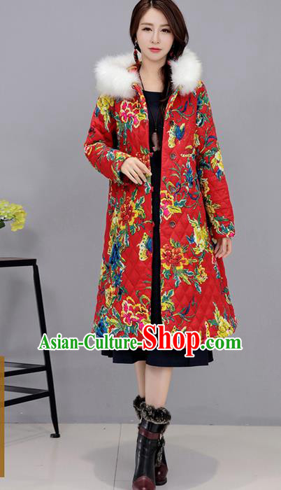 Traditional Ancient Chinese National Costume, Elegant Hanfu Stand Collar Coat Red Cotton Wadded Robes, China Tang Suit Plated Buttons Cape, Upper Outer Garment Dust Coat Clothing for Women