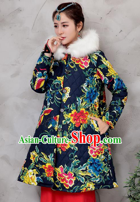 Traditional Ancient Chinese National Costume, Elegant Hanfu Stand Collar Coat Navy Cotton Wadded Robes, China Tang Suit Plated Buttons Cape, Upper Outer Garment Dust Coat Clothing for Women