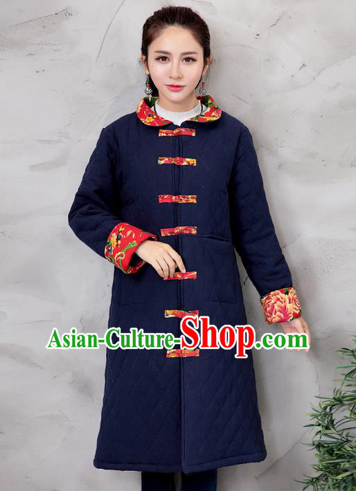 Traditional Ancient Chinese National Costume, Elegant Hanfu Turn-down Collar Navy Cotton Wadded Coat, China Tang Suit Plated Buttons Cape, Upper Outer Garment Dust Coat Clothing for Women