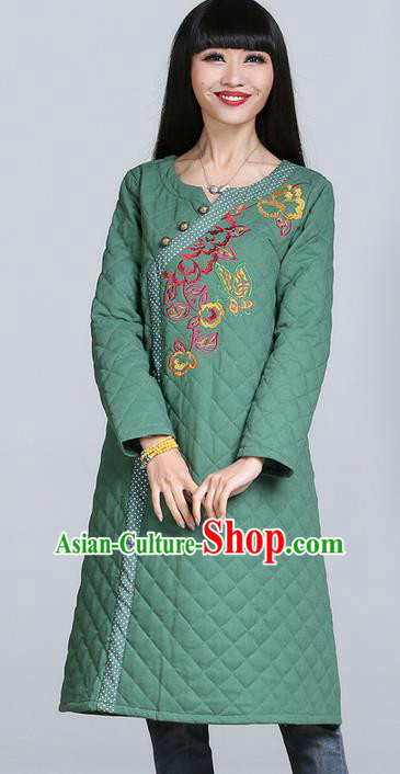Traditional Chinese National Costume, Elegant Hanfu Cotton Wadded Embroidered Green Dress, China Tang Suit Chirpaur Cheongsam Garment Elegant Dress Clothing for Women