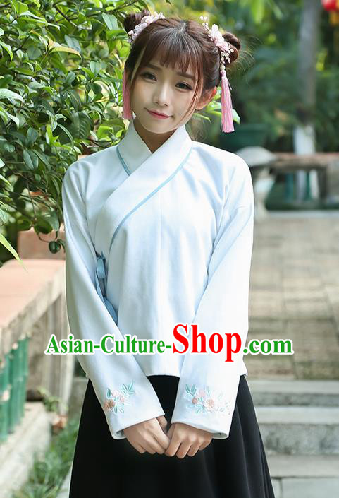 Traditional Chinese National Costume, Elegant Hanfu Embroidery Flowers Sleeve Slant Opening Blue T-Shirt, China Tang Suit Chirpaur Blouse Cheong-sam Upper Outer Garment Qipao Shirts Clothing for Women