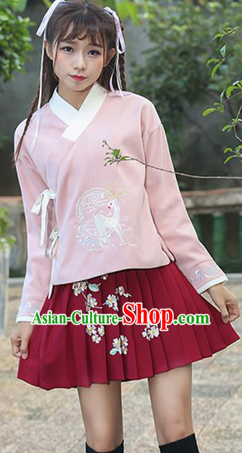 Traditional Chinese National Costume, Elegant Hanfu Embroidery Flowers Slant Opening Pink T-Shirt, China Tang Suit Chirpaur Blouse Cheong-sam Upper Outer Garment Qipao Shirts Clothing for Women