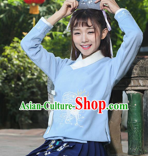 Traditional Chinese National Costume, Elegant Hanfu Embroidery Flowers Slant Opening Blue T-Shirt, China Tang Suit Chirpaur Blouse Cheong-sam Upper Outer Garment Qipao Shirts Clothing for Women