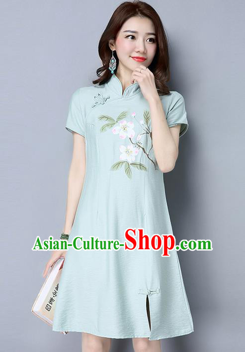 Traditional Ancient Chinese National Costume, Elegant Hanfu Mandarin Qipao Hand Painting Flowers Green Cheongsam Dress, China Tang Suit Upper Outer Garment Elegant Dress Clothing for Women