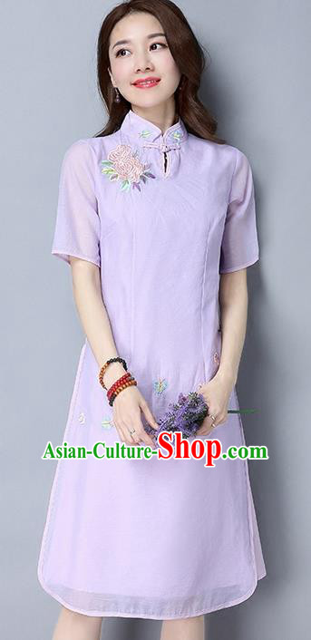 Traditional Ancient Chinese National Costume, Elegant Hanfu Mandarin Qipao Embroidered Flowers Organza Purple Cheongsam Dress, China Tang Suit Upper Outer Garment Elegant Dress Clothing for Women