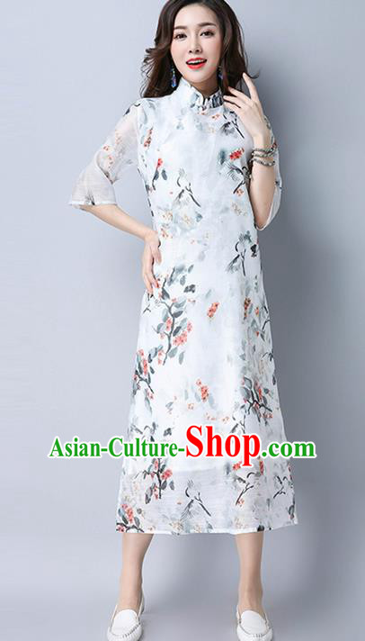 Traditional Ancient Chinese National Costume, Elegant Hanfu Mandarin Qipao Printing White Dress, China Tang Suit Cheongsam Upper Outer Garment Elegant Dress Clothing for Women
