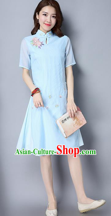 Traditional Ancient Chinese National Costume, Elegant Hanfu Mandarin Qipao Embroidered Flowers Organza Blue Cheongsam Dress, China Tang Suit Upper Outer Garment Elegant Dress Clothing for Women