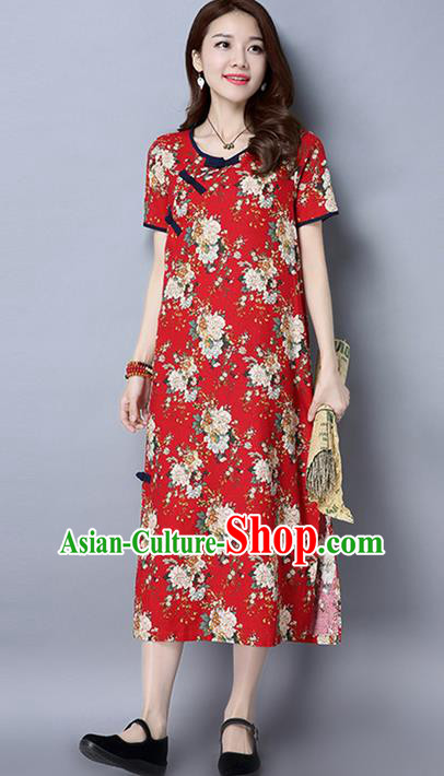 Traditional Ancient Chinese National Costume, Elegant Hanfu Linen Red Cheongsam Dress, China Tang Suit Upper Outer Garment Elegant Dress Clothing for Women