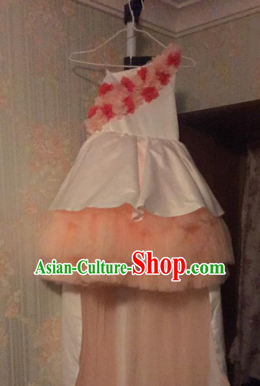 Top Grade Chinese Compere Catwalks Performance Costume, Children Chorus Singing Group Baby Princess Flower Girl Full Dress Modern Dance One-shoulder Bubble Short Dress for Girls Kids