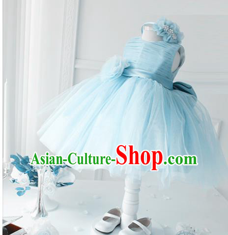 Top Grade Professional Compere Performance Catwalks Costume, Children Chorus Singing Group Little Princess Blue Wedding Veil Full Dress Modern Dance Bubble Dress for Girls Kids