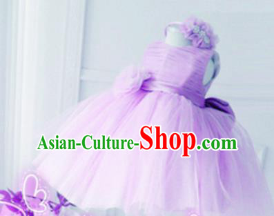 Top Grade Professional Compere Performance Catwalks Costume, Children Chorus Singing Group Little Princess Purple Wedding Veil Full Dress Modern Dance Bubble Dress for Girls Kids
