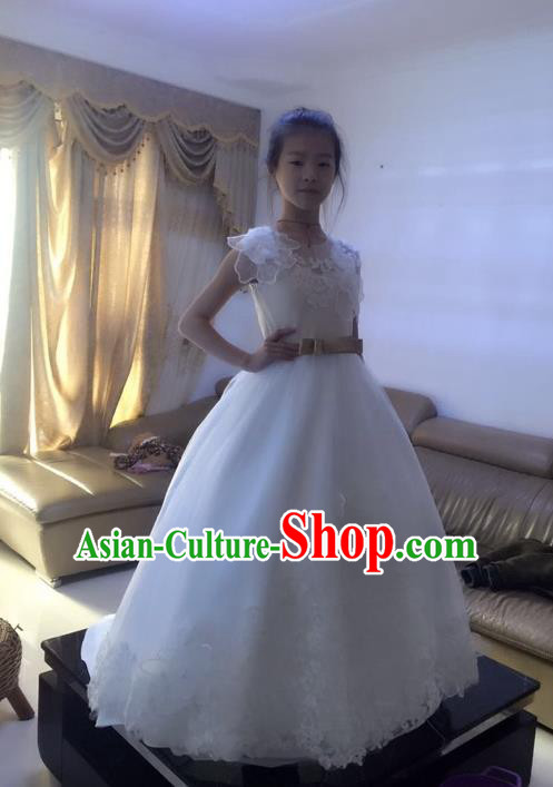 Top Grade Chinese Compere Professional Performance Piano Recital Catwalks Costume, Children Chorus Flowers Fairy White Wedding Bubble Formal Dress Modern Dance Baby Princess Trailing Long Dress for Girls Kids