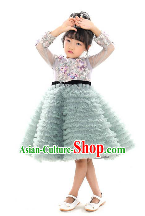 Top Grade Chinese Compere Professional Performance Catwalks Costume, Children Chorus Embroidering Flower Wedding Formal Dress Modern Dance Baby Princess Bubble Dress for Girls Kids