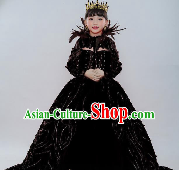 Top Grade Chinese Compere Professional Performance Catwalks Costume, Children Chorus Palace Queen Wedding Black Formal Dress Modern Dance Baby Princess Long Trailing Dress for Girls Kids
