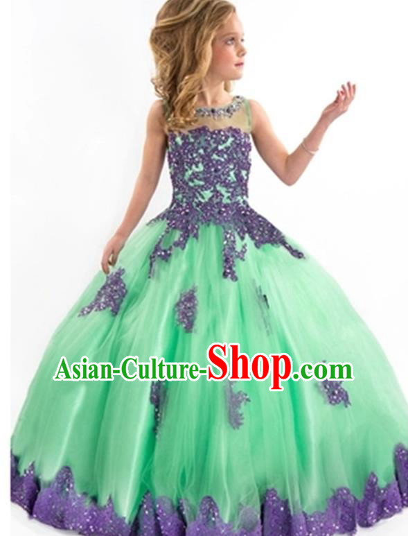 Top Grade Compere Professional Performance Catwalks Costume, Children Chorus Handmade Customize Green Veil Bubble Full Dress Modern Dance Baby Princess Modern Fancywork Ball Gown Long Dress for Girls Kids