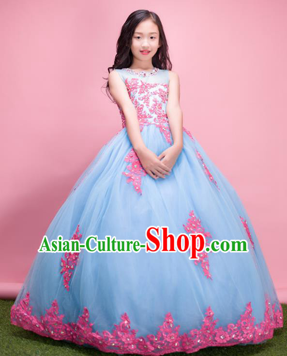 Top Grade Compere Professional Performance Catwalks Costume, Children Chorus Handmade Customize Blue Veil Bubble Full Dress Modern Dance Baby Princess Modern Fancywork Ball Gown Long Dress for Girls Kids