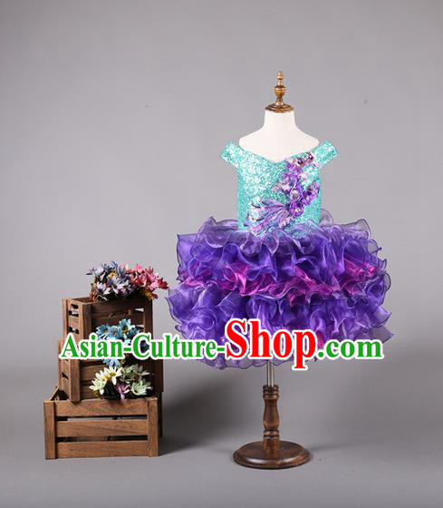 Top Grade Compere Professional Performance Catwalks Costume, Children Chorus Customize Purple Bubble Veil Full Dress Modern Dance Baby Princess Modern Fancywork Short Ball Gown Dress for Girls Kids
